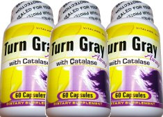 Reversing Gray Hair With Turn Gray Away With Catalase 3 Pack